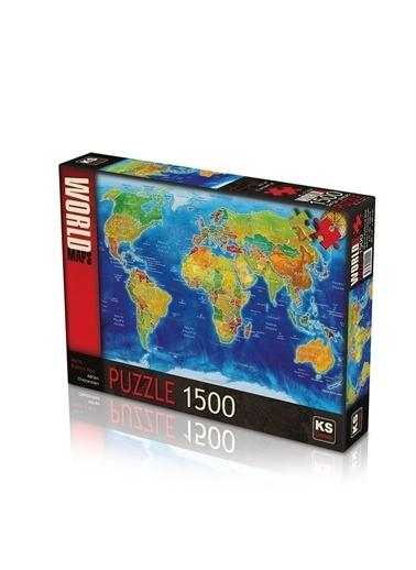 KS Puzzle KS Puzzle 22011 World Political Map Temalı 1500 ParÇa Puzzle Renkli